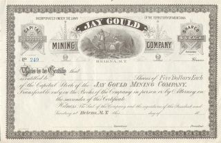 Jay Gould Mining Company Stock Certificate 1800s photo