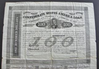 Confederate War Bond Document - Civil War - 1863 - Csa Congress Help Vets photo