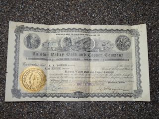 1907 Ralston Valley Gold And Copper Company Stock Certificate photo