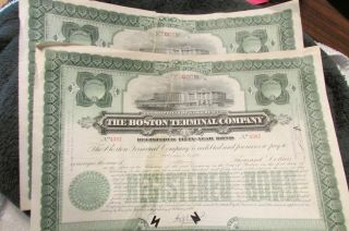 2 Rare Vintage 1939 Stocks For $1,  000 Each For The Boston Terminal Co photo