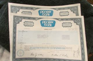 2 Vintage 1985 Stocks For 100 Shares Each For Pioneer Savings Bank photo