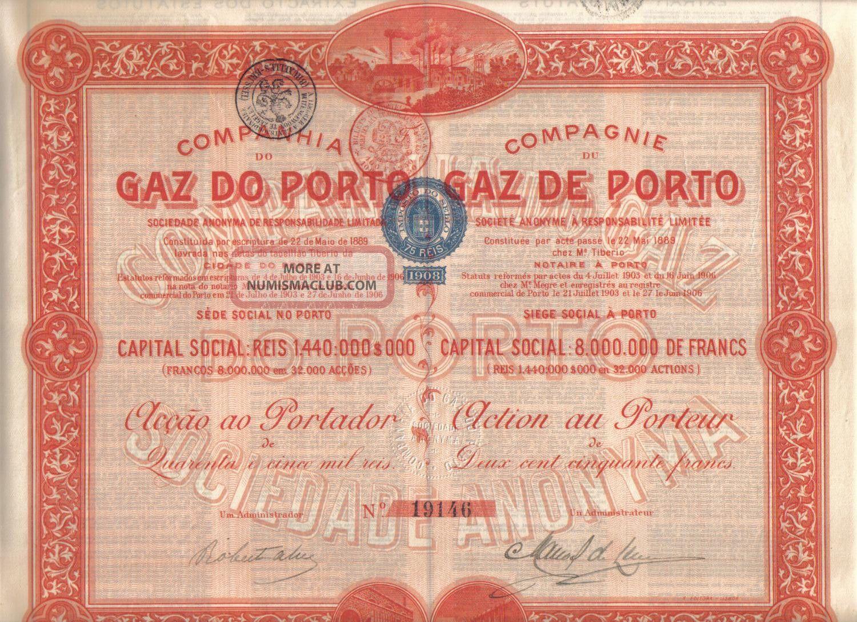Portugal 1908 Gas Gaz Porto Oporto Company 250 Francs Uncancelled Coupons Deco World photo