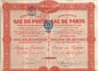 Portugal 1908 Gas Gaz Porto Oporto Company 250 Francs Uncancelled Coupons Deco photo