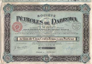 Poland France 1923 Bond Petroles Dabrowa 500 Fr Uncancelled Coupons photo