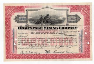 Homestake Mining Company Stock Certificate photo