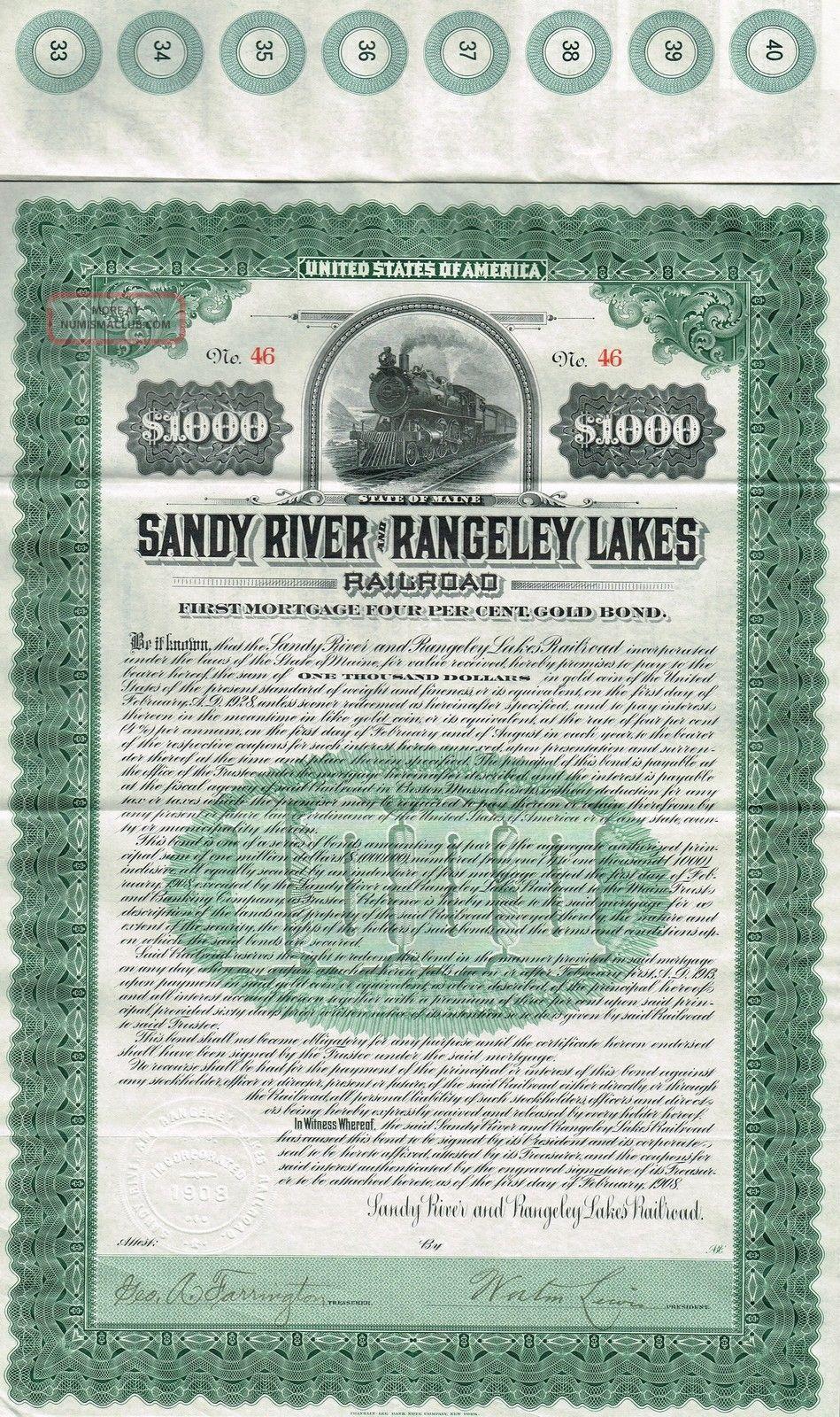 Usa Sandy River & Rangeley Lakes Railroad Bond Stock Certificate 1908 World photo