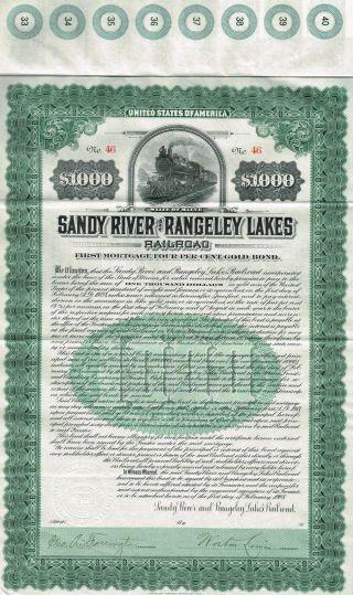 Usa Sandy River & Rangeley Lakes Railroad Bond Stock Certificate 1908 photo