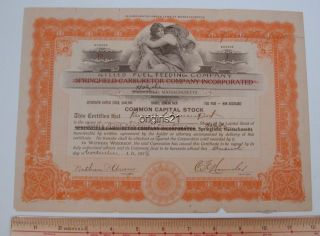 1918 Auto Stock Certificate Gilles Fuel Feeding Carburator Circulated Holyoke Ma photo
