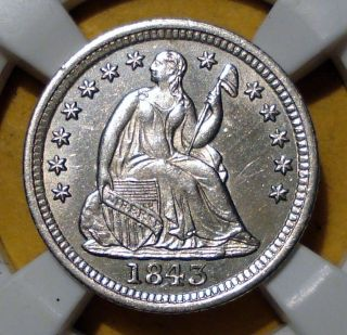 1843 Seated Liberty Half Dime - Reverse Die Clash - Uncirculated - Bu/ms photo