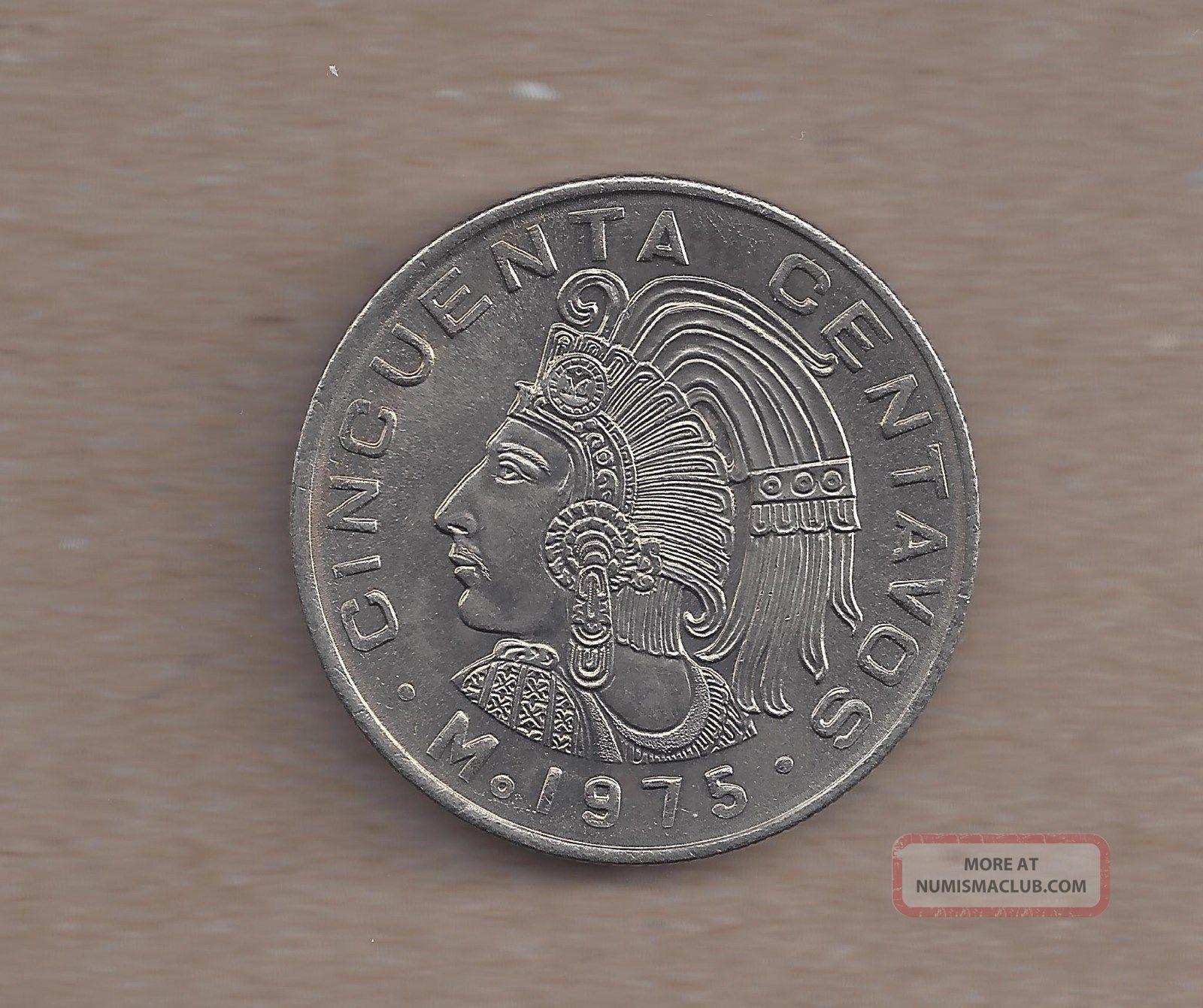 1975 Mexico Cincuenta Centavos With Dots Unc Coin