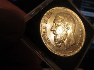 Museum Quality Silver Crown: Belgium 1869 King Leopold 5 Francs,  Au Gem photo