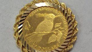 1991 Cook Islands 1/25 Oz.  22kt Gold $25 Coin,  Light Circ,  In 14kt Gold Bezel photo