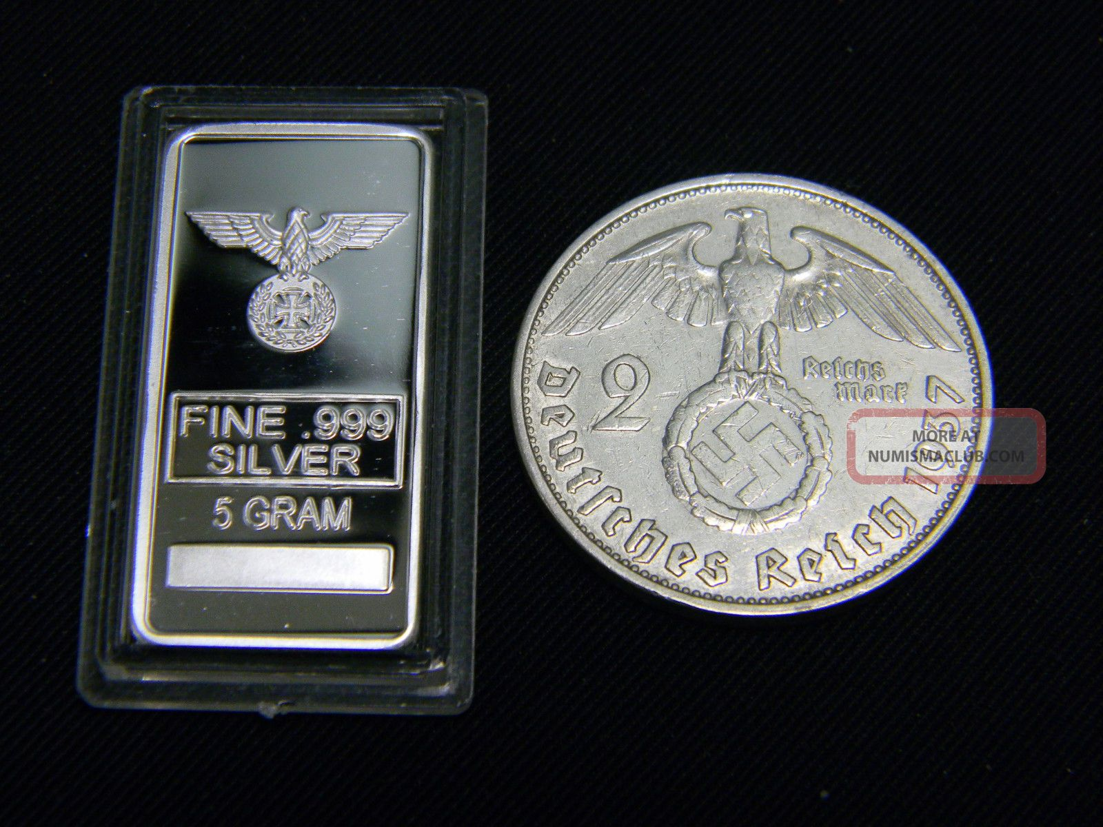 Nazi German Swastika 2 Mark Silver Coin Amp 5 Gram 999 Iron