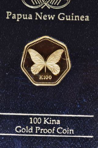 1990 100 Kina Gold Butterfly Papua Guinea Solid.  999 Gold Coin,  Uncirculated photo
