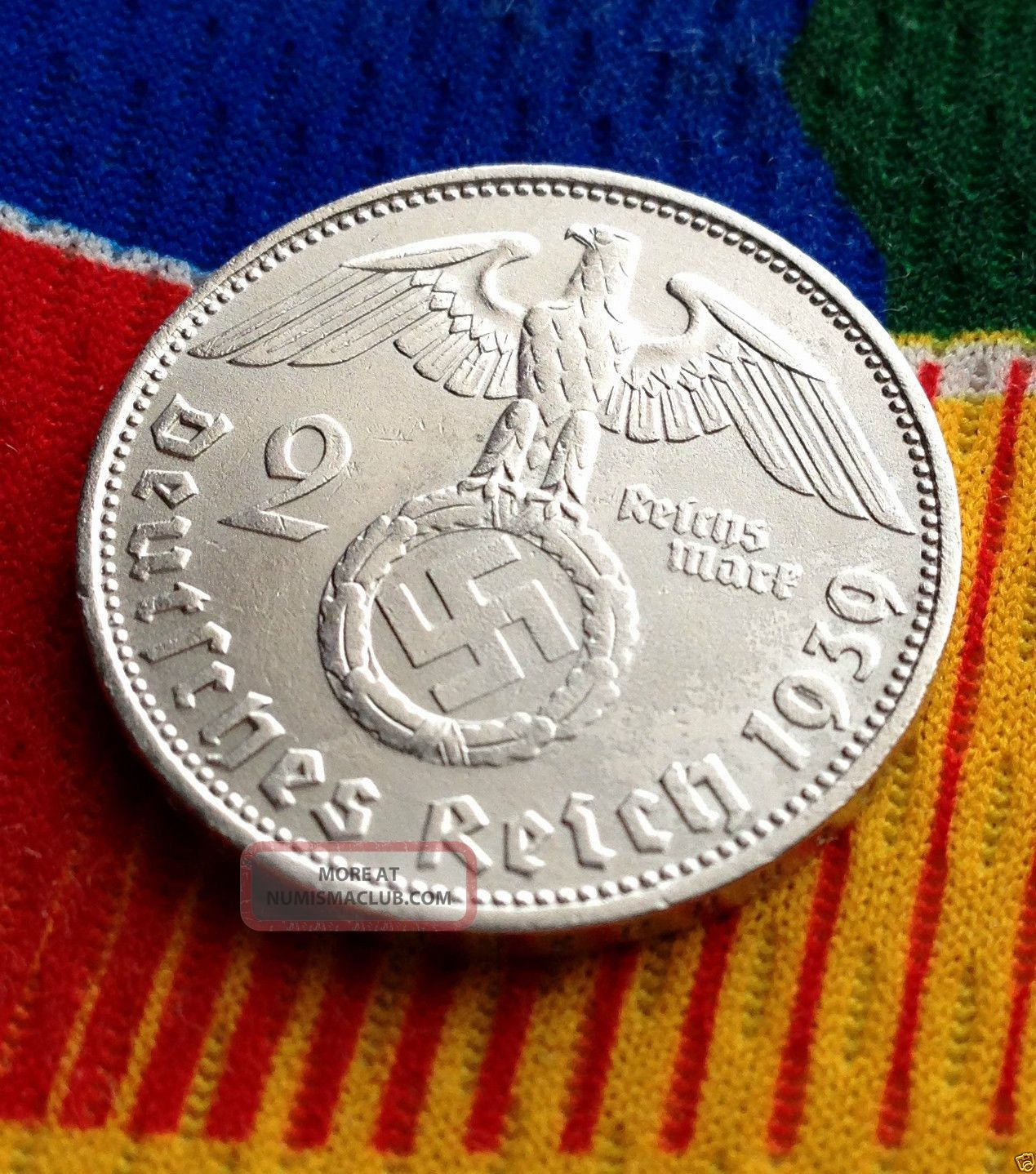 Wwii German 2 Mark Silver Coin 1939 D Third Reich Reichsmark 5 Star Germany photo