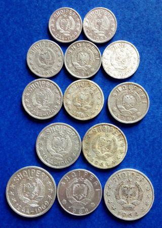1964 - 1988 Albania Coin 5,  10,  20,  50 Qindarka 1 Lek Albanian Socialis Period photo