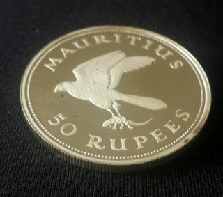 Mauritius 1975 50 Rupees,  Conservation,  Mauritius Kestrel,  Silver Proof Capsule photo