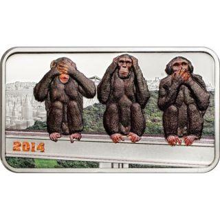 Tanzania 2014 1000 Shillings - The Three Wise Monkeys - 1oz Silver Coin photo