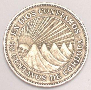 1939 Nicaragua Nicaraguan 50 Centavos Francisco De Cordoba Coin Vf, photo