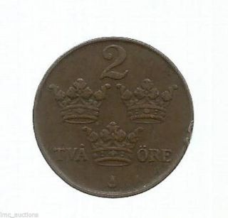 1916 Sweden Europe Two 2 Tva Ore Bronze Coin W/ 3 Crowns Km 778 photo