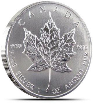 2013 - 1 Oz Canadian Silver Maple Leaf Coin - One Troy Oz.  9999 Bullion photo