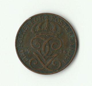 1934 Sweden 5 Ore Coin,  Km 779.  2 photo