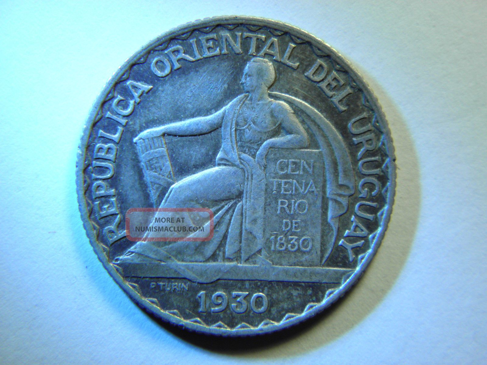 Uruguay 20 Centesimos 1830,  Silver Km 26,  Toning South America photo