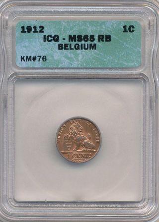 1912 Belgium Icg Ms65 Rb 1 Cent photo