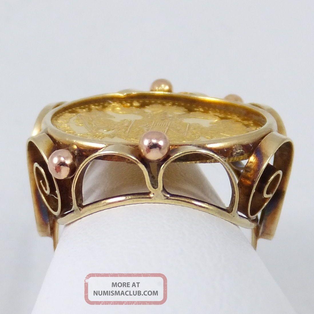 Vintage 1915 Austria Gold Ducat Coin Ring Sz 5 5 Yellow