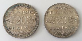 Granddad ' S Estate - (2) Tunisie 20 Francs 1934 Km 263 Lecompte 364 photo