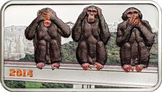 2014 1oz Silver Coin - Three Wise Monkeys - See No Evil Hear No Evil Speak No Evil photo