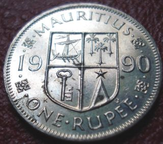 1990 Mauritius 1 Rupee In Ef - Au photo