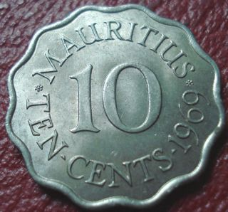 1969 Mauritius 10 Cents In Au photo