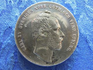 Sweden 4 Riksdaler Specie 1864,  A Silver Coin Km711 Note Backside Marks photo