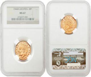 Liechten 1946b 20 Franken Gold Ngc Ms67 photo