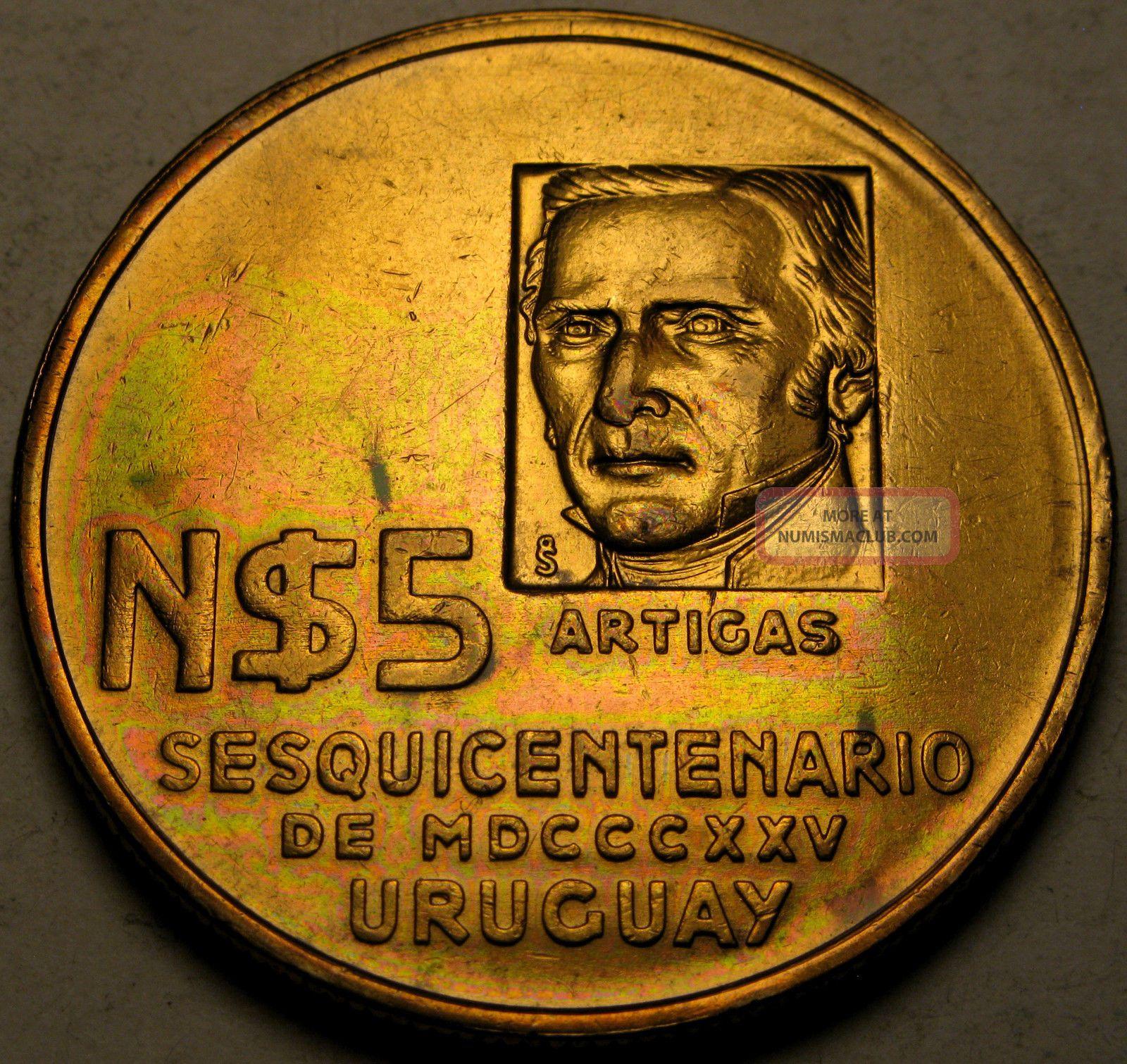 Uruguay 5 Nuevos Pesos Nd (1975) - 150th Ann.  Revolutionary Movement - Xf - 914 South America photo