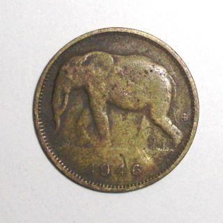 1946 Belgian Congo 1 Franc,  African Elephant,  Animal Wildlife Coin photo
