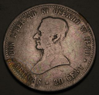 Uruguay 20 Centesimos 1920 - Silver 816 photo