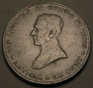 Uruguay 50 Centesimos 1917 - Silver 815 photo