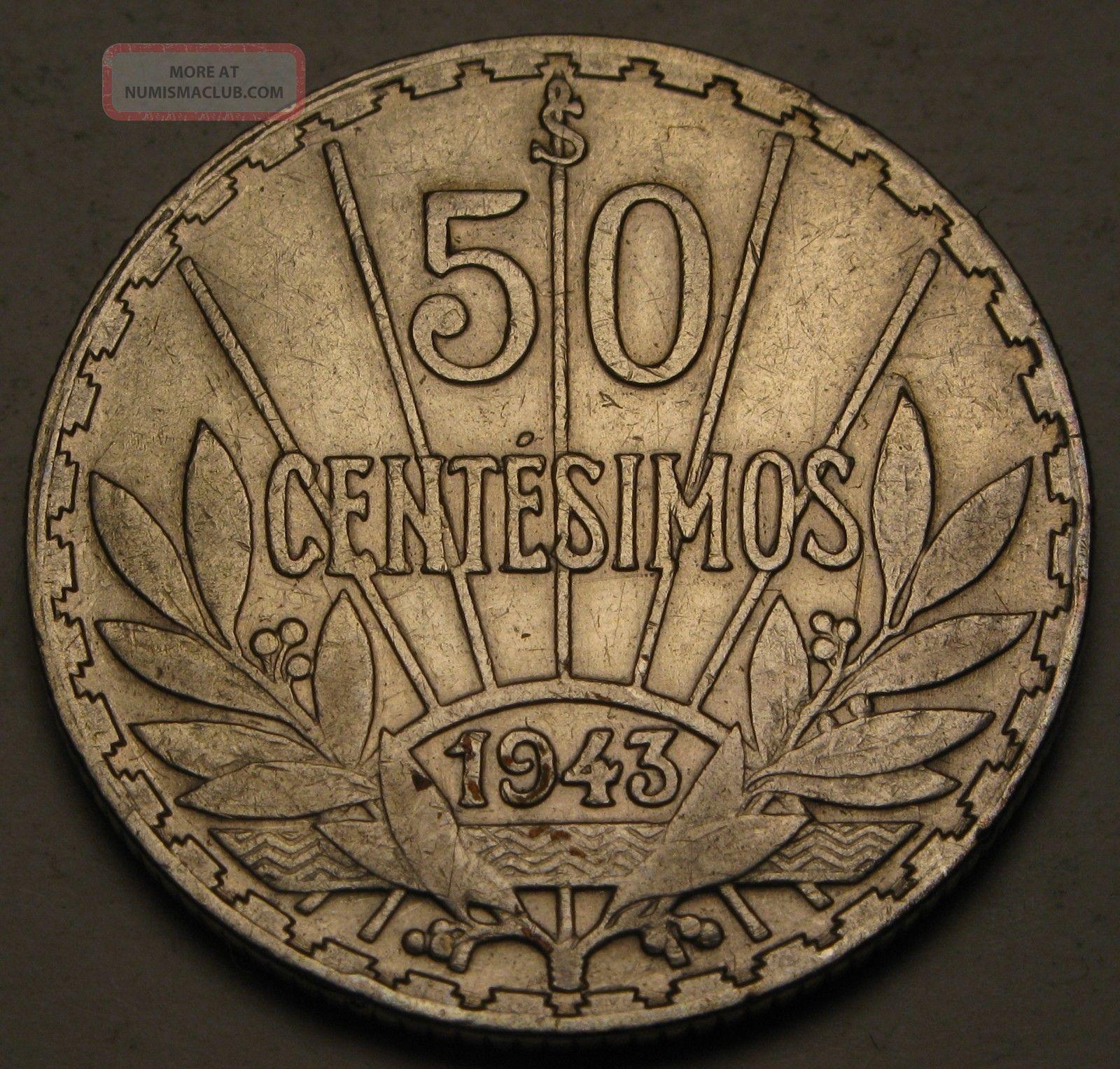 Uruguay 50 Centesimos 1943 So - Silver - Vf 813 South America photo