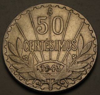 Uruguay 50 Centesimos 1943 So - Silver - Vf 813 photo