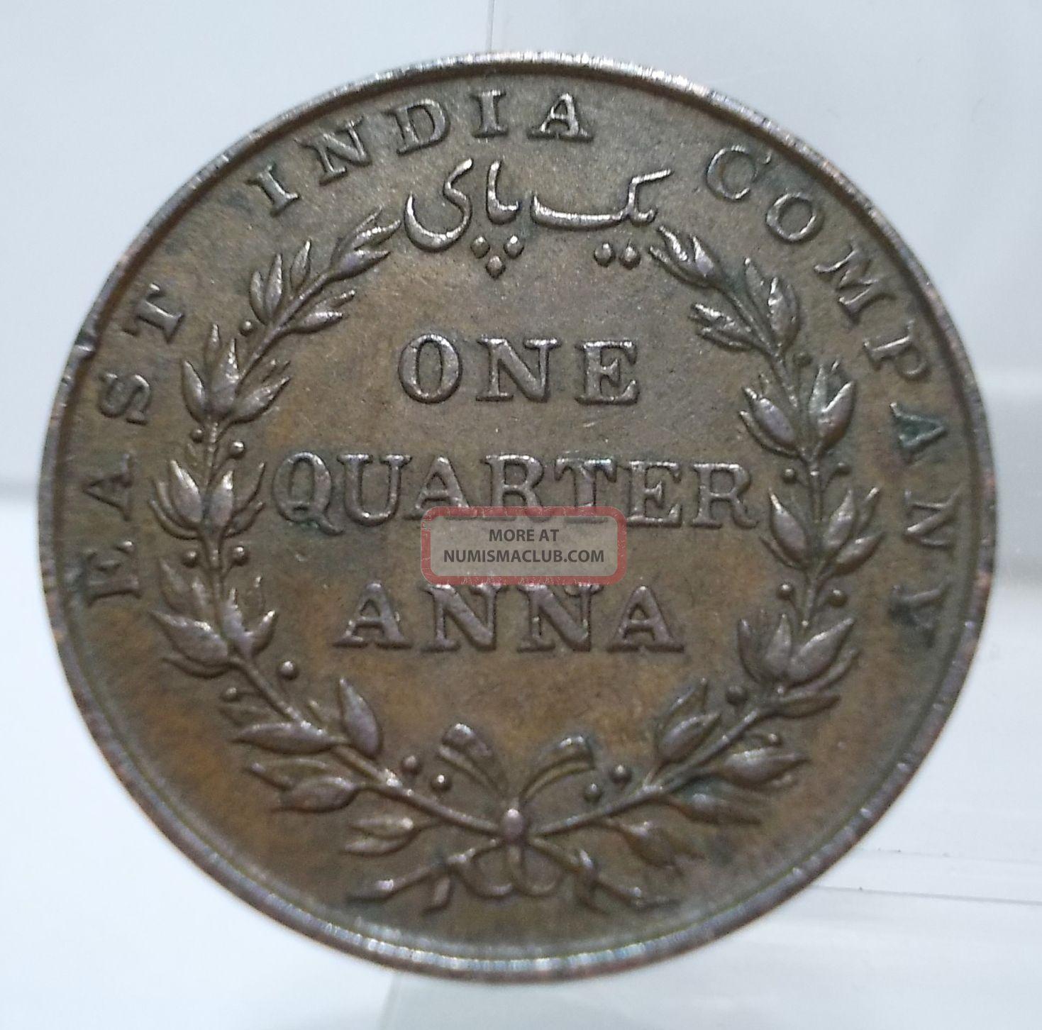 British India 1835 1 4 Anna Copper Coin 2