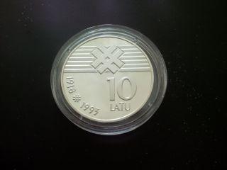 Latvia 10 Latu/lats 1993 Proof Silver Coin photo
