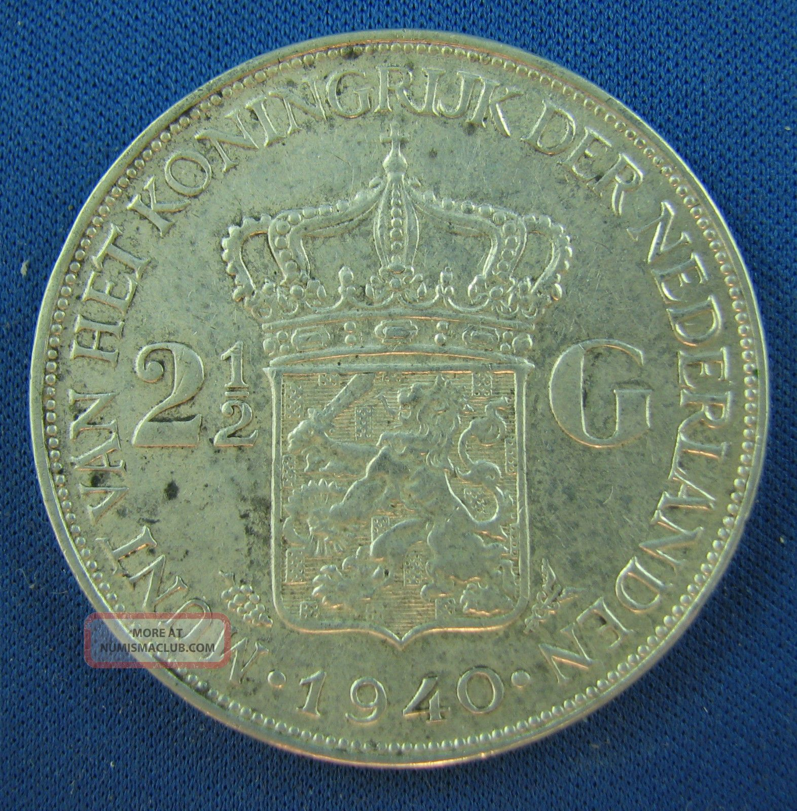 1940 2 1 2 Gulden Netherlands Silver Circulated A Coin