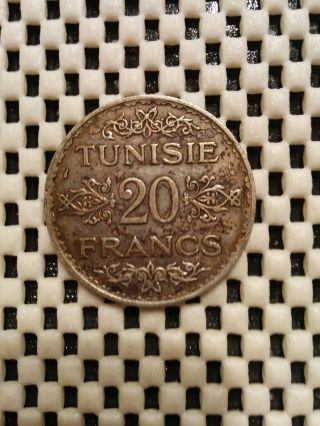 1935 - 1353 Tunisia 20 Franc Silver Coin photo