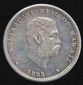 1883 Hawaiian Quarter Dollar,  Hawaii 25 Cent,  Hapaha,  1/4 Dollar,  Extra Fine Cond photo
