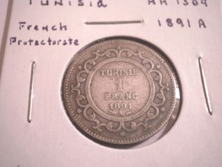 1891 Tunisia French Protectorate Silver 1 Franc photo