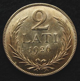 Latvia ● 2 Lati 1926 ● Silver.  835 ● 10 G ● Ø 27 Mm photo