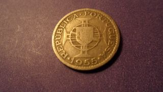 Mozambique 1955,  Two And A Half Escudos.  Looking Older Coin. photo