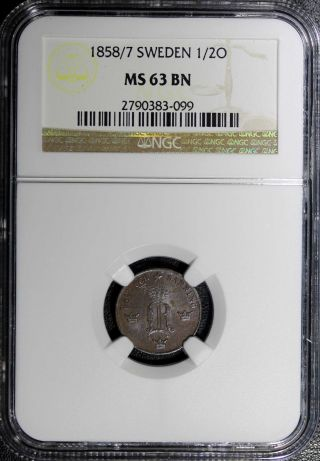 Sweden Oscar I Bronze 1858/7 1/2 Ore Ngc Ms63 Bn Overdate Km 686 photo
